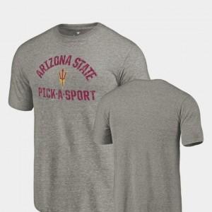 Arizona State Sun Devils T-Shirt Tri-Blend Distressed Gray Pick-A-Sport Mens