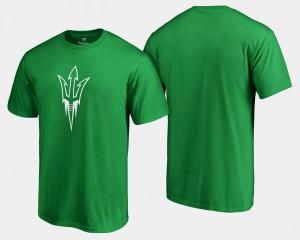 Arizona State Sun Devils T-Shirt St. Patrick's Day Kelly Green For Men's White Logo Big & Tall