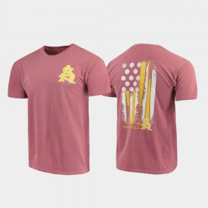 Arizona State Sun Devils T-Shirt Men's Comfort Colors Maroon Baseball Flag
