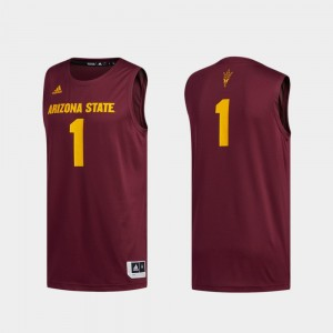 Arizona State Sun Devils Jersey Men Basketball Swingman Maroon #1 Swingman Basketball