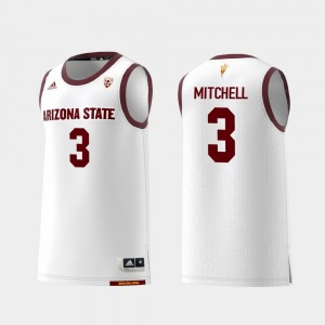 Arizona State Sun Devils Mickey Mitchell Jersey Men White College Basketball #3 Replica