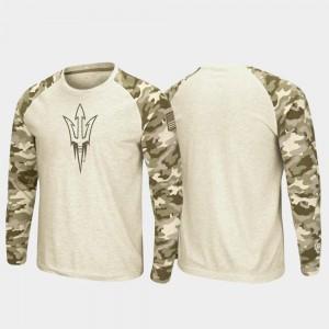 Arizona State Sun Devils T-Shirt Men's Oatmeal OHT Military Appreciation Raglan Long Sleeve