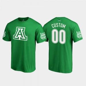 Arizona Wildcats Custom T-Shirt #00 St. Patrick's Day Kelly Green Mens White Logo