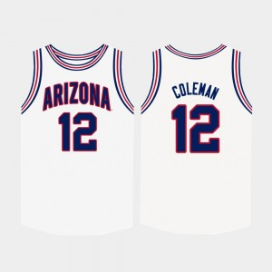 Arizona Wildcats Justin Coleman Jersey For Men White College Basketball #12