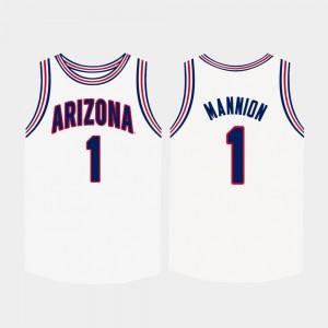 Arizona Wildcats Nico Mannion Jersey White Men's #1 College Basketball