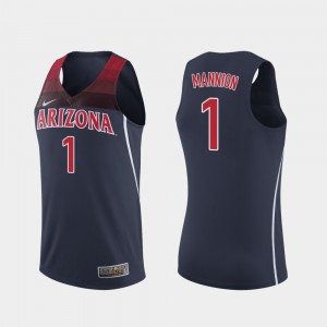 Arizona Wildcats Nico Mannion Jersey #1 College Basketball Navy For Men's Replica