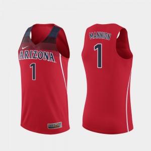 Arizona Wildcats Nico Mannion Jersey College Basketball Red Replica #1 Men's