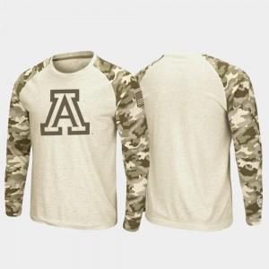 Arizona Wildcats T-Shirt Raglan Long Sleeve Men's OHT Military Appreciation Oatmeal