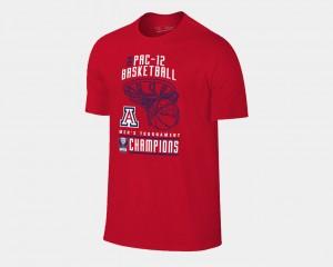 Arizona Wildcats T-Shirt Red Basketball Conference Tournament Men 2018 Pac-12 Champions Locker Room