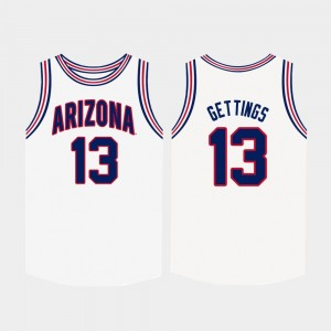 Arizona Wildcats Stone Gettings Jersey White College Basketball Men #13