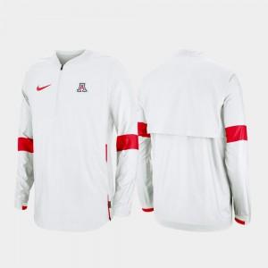 Arizona Wildcats Jacket Men White Quarter-Zip 2019 Coaches Sideline