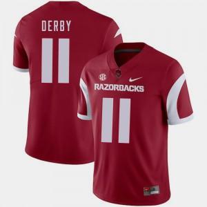Arkansas Razorbacks A.J. Derby Jersey For Men #11 Cardinal College Football