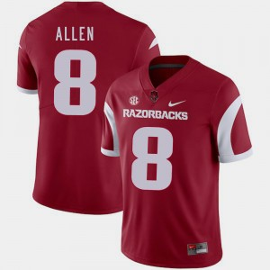 Arkansas Razorbacks Austin Allen Jersey Cardinal Men's #8 College Football