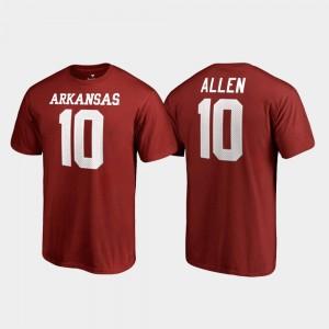 Arkansas Razorbacks Brandon Allen T-Shirt For Men College Legends Cardinal Name & Number #10