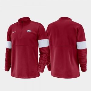 Arkansas Razorbacks Jacket For Men Half-Zip Performance Cardinal 2019 Coaches Sideline