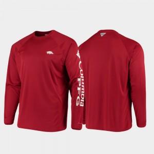 Arkansas Razorbacks T-Shirt Omni-Shade Men's PFG Terminal Tackle Long Sleeve Cardinal