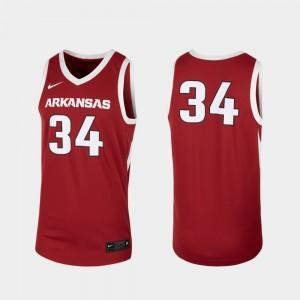 Arkansas Razorbacks Jersey #34 Replica Men's Cardinal College Basketball