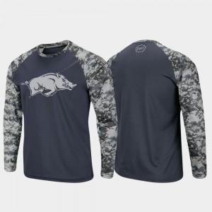 Arkansas Razorbacks T-Shirt Charcoal Camo Raglan Long Sleeve Digi Camo OHT Military Appreciation Men's