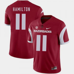 Arkansas Razorbacks Cobi Hamilton Jersey College Football Mens Cardinal #11