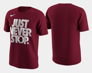 Arkansas Razorbacks T-Shirt Crimson Basketball Tournament Just Never Stop March Madness Selection Sunday Men's