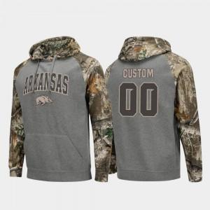Arkansas Razorbacks Custom Hoodie #00 Realtree Camo Charcoal Men Colosseum Raglan