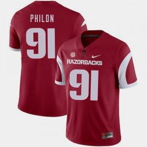 Arkansas Razorbacks Darius Philon Jersey #91 College Football Cardinal Mens