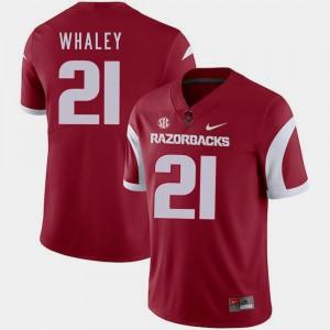 Arkansas Razorbacks Devwah Whaley Jersey Cardinal #21 College Football Men
