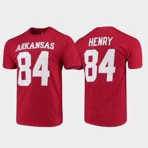 Arkansas Razorbacks Hunter Henry T-Shirt #84 Cardinal Name & Number For Men College Football