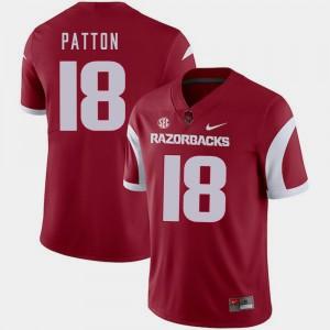 Arkansas Razorbacks Jeremy Patton Jersey #18 Men Cardinal College Football