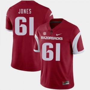 Arkansas Razorbacks Jerry Jones Jersey College Football Cardinal #61 For Men