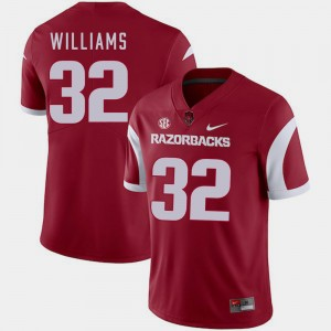 Arkansas Razorbacks Jonathan Williams Jersey Cardinal #32 For Men's College Football