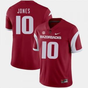 Arkansas Razorbacks Jordan Jones Jersey For Men College Football Cardinal #10