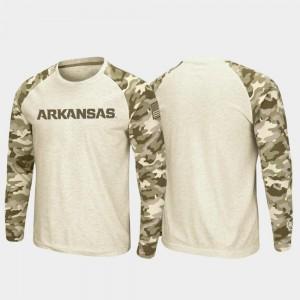 Arkansas Razorbacks T-Shirt OHT Military Appreciation Oatmeal For Men Raglan Long Sleeve Desert Camo