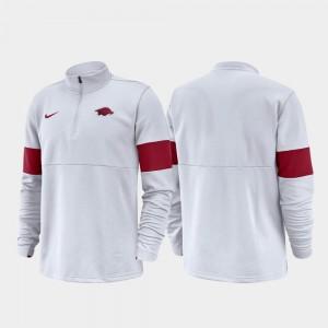 Arkansas Razorbacks Jacket For Men Half-Zip Performance White 2019 Coaches Sideline