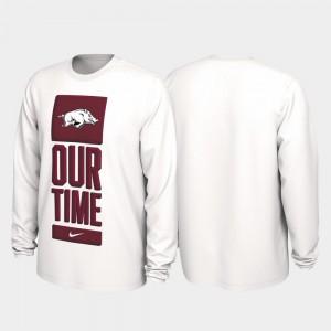 Arkansas Razorbacks T-Shirt White Men 2020 March Madness Our Time Bench Legend