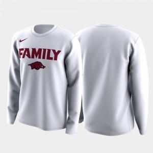 Arkansas Razorbacks T-Shirt White Family on Court March Madness Legend Basketball Long Sleeve Men