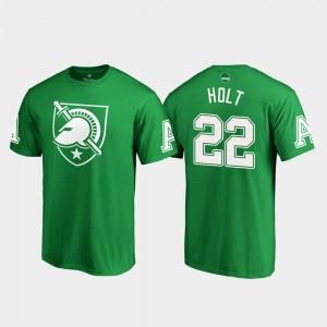 Army Black Knights Calen Holt T-Shirt Kelly Green #22 White Logo Men St. Patrick's Day