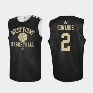 Army Black Knights Cayne Edwards Jersey Practice Black Men's #2 College Basketball