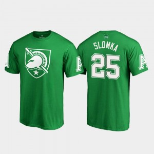 Army Black Knights Connor Slomka T-Shirt #25 St. Patrick's Day White Logo Kelly Green Mens