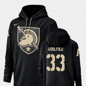 Army Black Knights Darnell Woolfolk Hoodie Champ Drive Football Performance #33 Black Mens