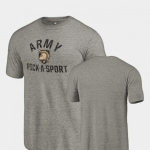 Army Black Knights T-Shirt Gray Pick-A-Sport Tri-Blend Distressed Men