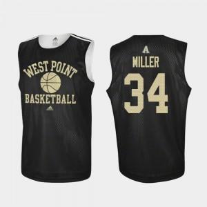 Army Black Knights John Miller Jersey #34 For Men Black College Basketball Practice
