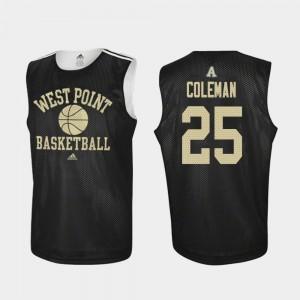 Army Black Knights Jordan Coleman Jersey Practice College Basketball #25 Black Men
