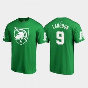 Army Black Knights Luke Langdon T-Shirt Men White Logo St. Patrick's Day #9 Kelly Green