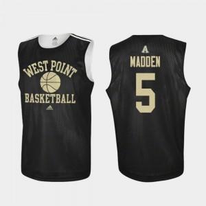 Army Black Knights Mark Madden Jersey Men's College Basketball #5 Practice Black