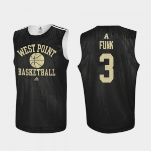 Army Black Knights Tommy Funk Jersey #3 Black For Men's College Basketball Practice
