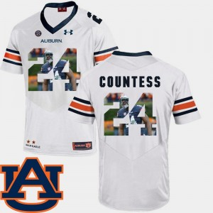 Auburn Tigers Blake Countess Jersey Pictorial Fashion For Men's #24 White Football