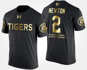 Auburn Tigers Cam Newton T-Shirt Mens Short Sleeve With Message #2 Black Gold Limited