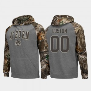 Auburn Tigers Custom Hoodies Charcoal #00 Realtree Camo Colosseum Raglan For Men