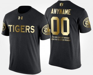 Auburn Tigers Custom T-Shirts #00 Gold Limited Short Sleeve With Message Black For Men's